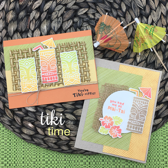 Tiki Tropical Drink cards by Jennifer Jackson | Tiki Time stamp set by Newton's Nook Designs #newtonsnook