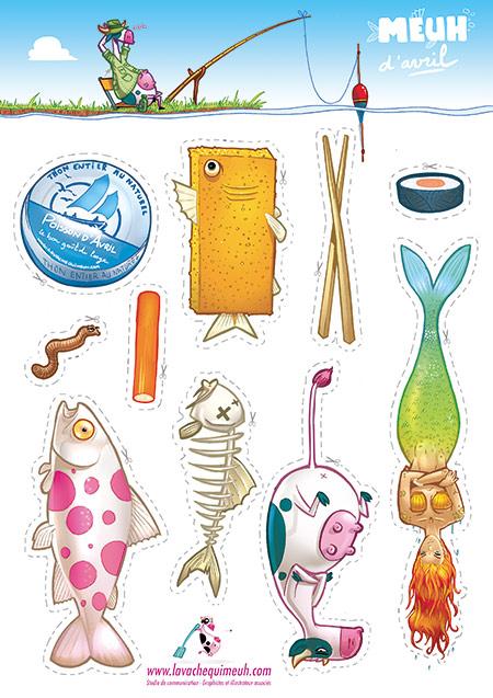 Création de divers poissons d'avril à imprimer et découper soi meme