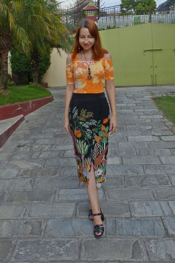 Floral open shoulder top with pencil style jungle print skirt