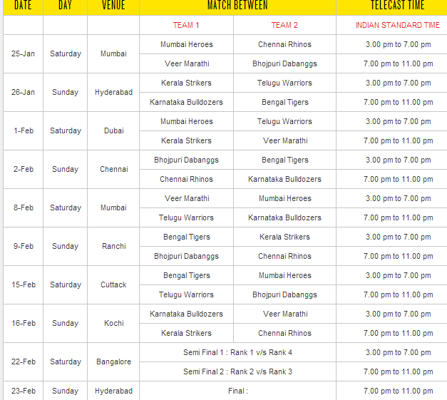 CCL Season 4 Cricket Match Schedule, Watch on FreeDish (DD Direct Plus)