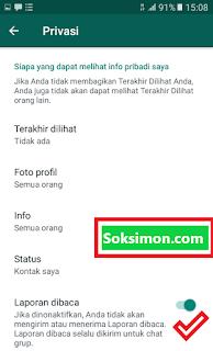 Hilangkan centang laporan baca WhatsApp