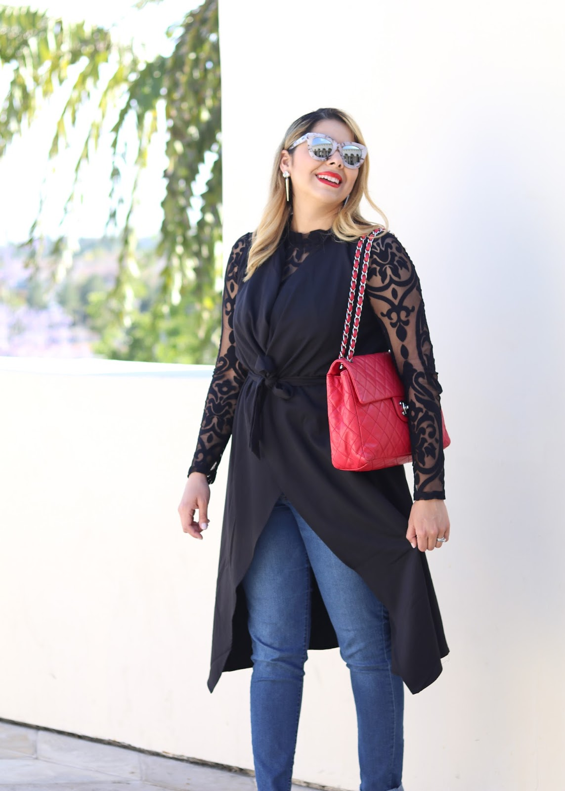 Long vest outfit, red chanel outfit, red chanel, san diego fashion blogger, latina blogger