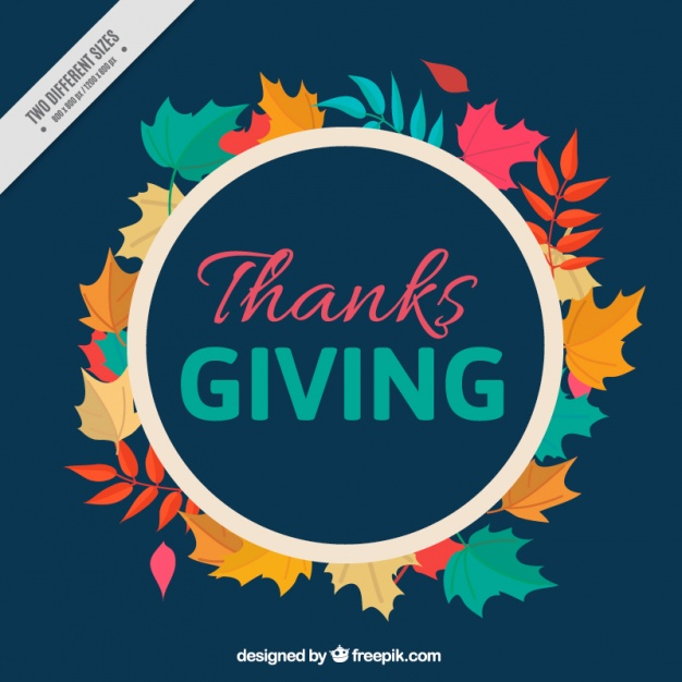 Dark blue background with leaves for thanksgiving day Free Vector