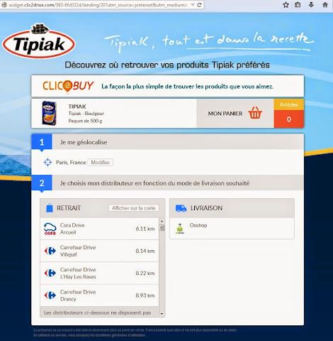 """圖片說明: 點擊""""Trouvé sur tipiak.fr"""" 連結到零售通路, 圖片來源: JDN"""