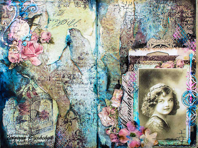 Double Art Journal Page with Brusho Crystal Colors, by Tanya SonataJoy