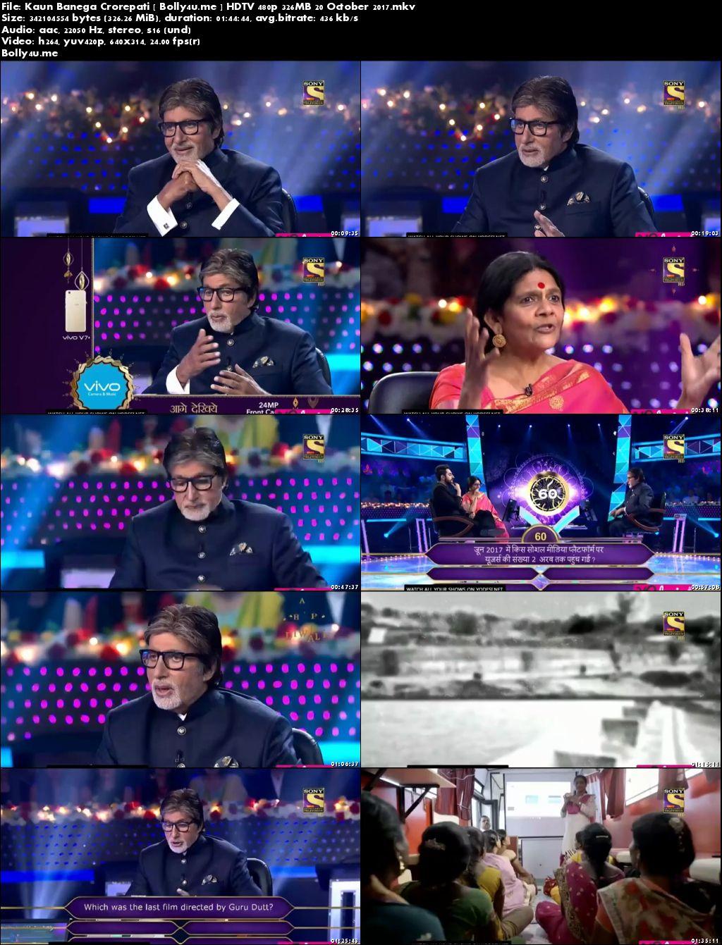 Kaun Banega Crorepati HDTV 480p 300MB 20 October 2017 Download