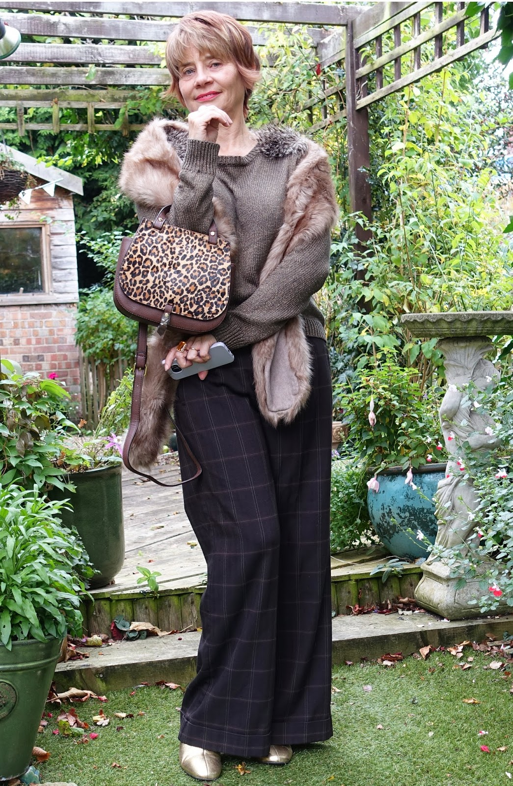 Image showing over-40s blogger Gail Hanlon in old and thrifted clothes in shades of brown and camel