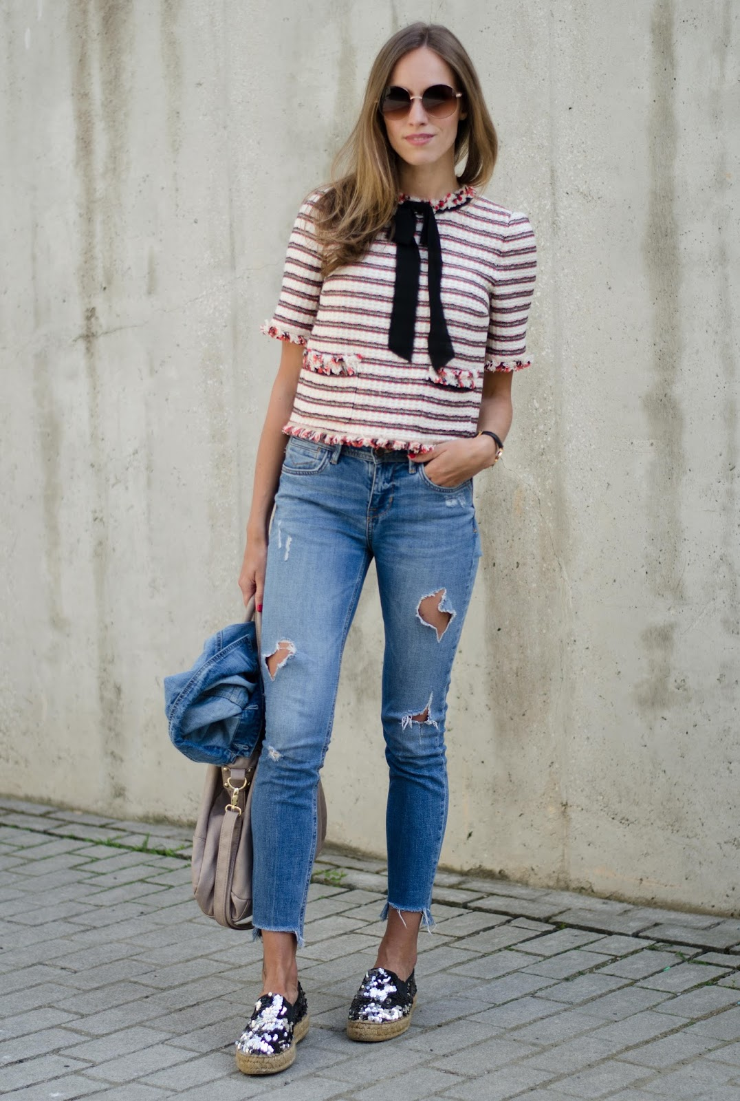 kristjaana mere striped bow top frayed jeans sequin espadrilles outfit
