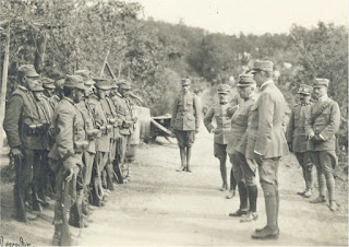 General Cadorno (fourth from the right) inspecting Italian troops ahead of the second Isonzo offensive
