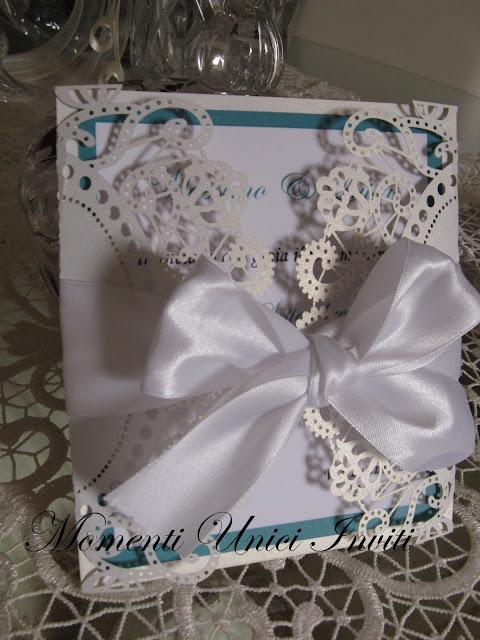 """IMG_5575 Modello """"Colazione da Tiffany"""" per una coppia di sposi sofisticata...Colore Bianco Colore Tiffany Partecipazioni intagliate"""