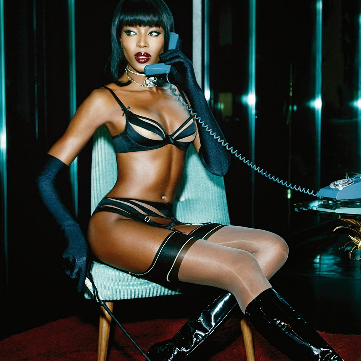 nice celebrity: Naomi Campbell sexy Agent Provocateur Lingerie 2015 Spring Summer Campaign 6x UHQ