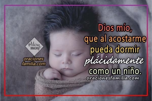 Oración corta para conciliar el sueño, versículos para repetir antes de dormir en la noche, frases de buenas noches, imágenes de oraciones por Mery Bracho.