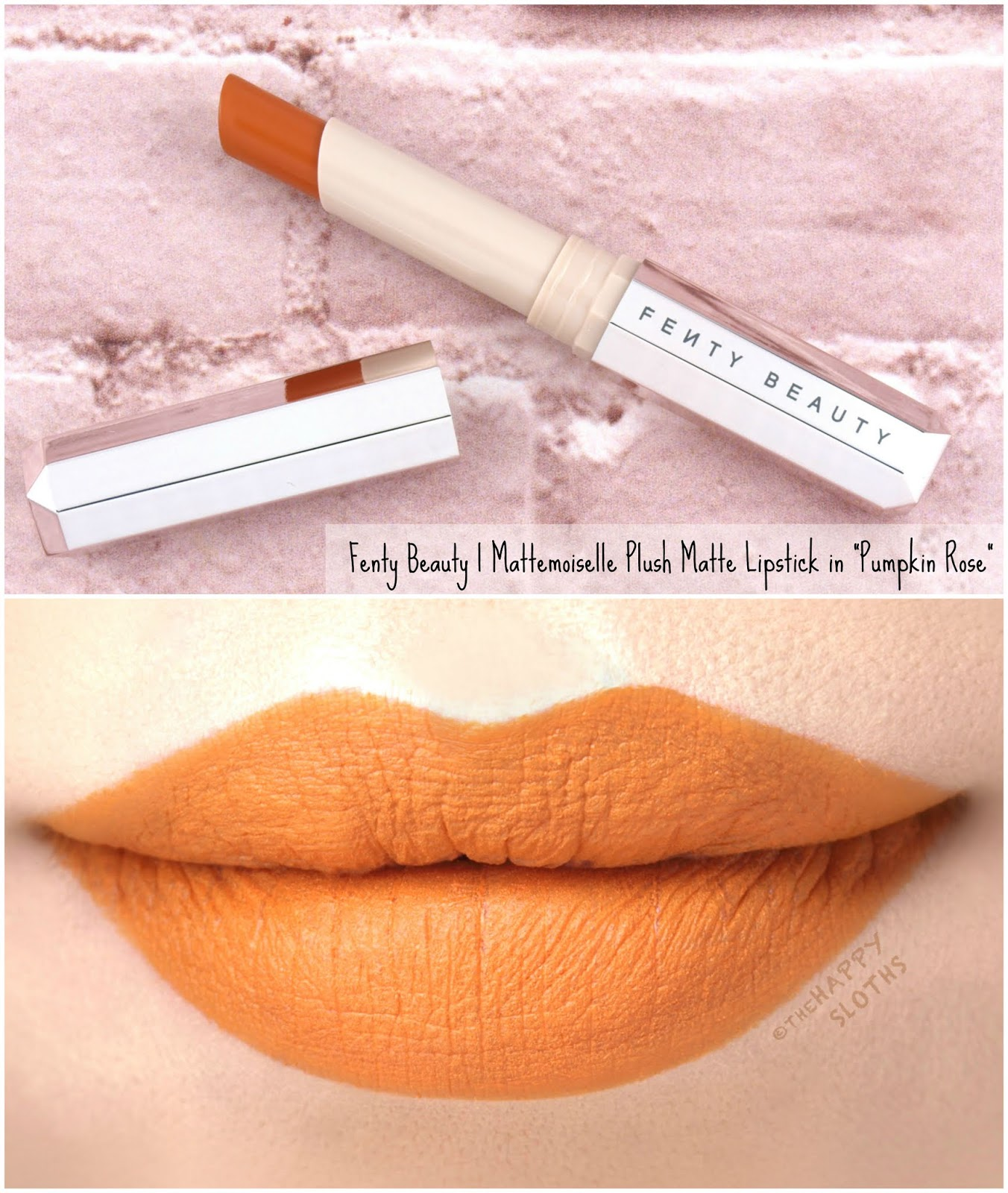 "Fenty Beauty by Rihanna | Mattemoiselle Plush Matte Lipstick in ""Pumpkin Rose"": Review and Swatches"