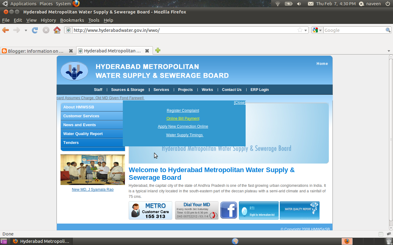 Information on Water Bill Status and Payment online: Hyderabad Metro