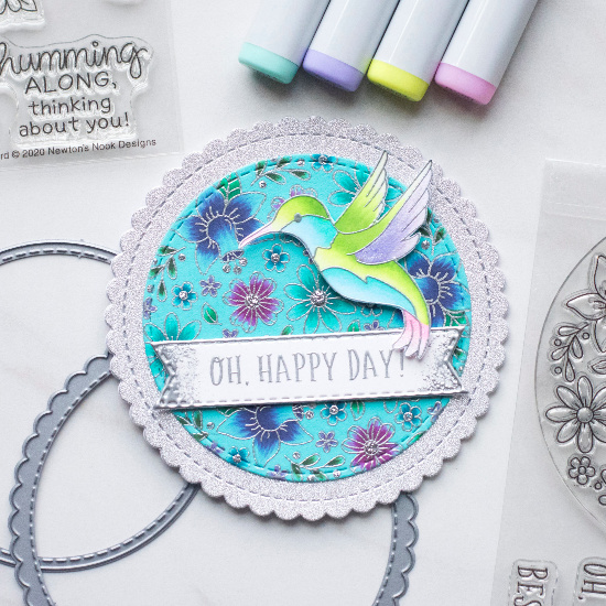 Hummingbird Circle Card by June Guest Designer Amy Tollner | Floral Roundabout Stamp Set, Hummingbird Stamp Set, Circle Frames Die Set, and Banner Trio Die Set by Newton's Nook Designs #newtonsnook #handmade