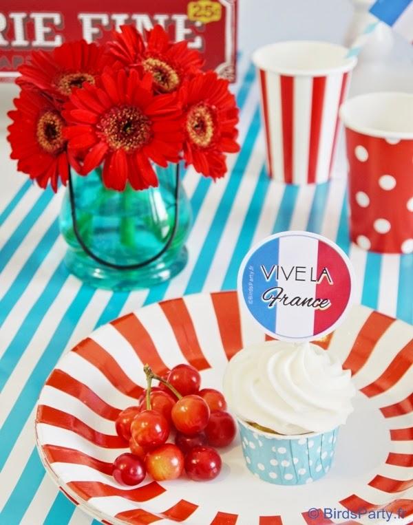 Sweet Table en Bleu, Blanc et Rouge pour le 14 Juillet | BirdsParty.fr