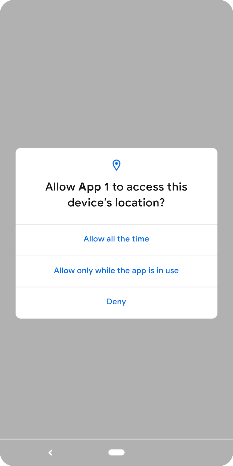 notification displaying: Allow app 1 to access the device's location.