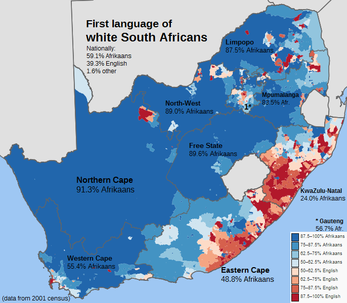 First language of white South Africans