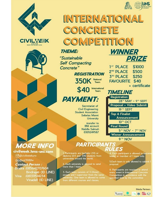 Contest International Concrete Competition Civilweek 2018