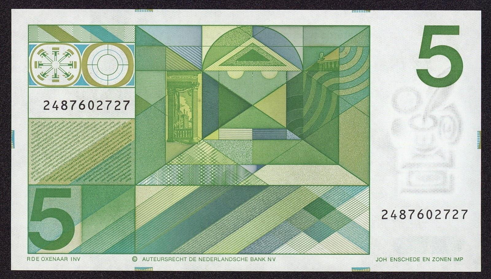 Netherlands Banknotes 5 Gulden note 1973