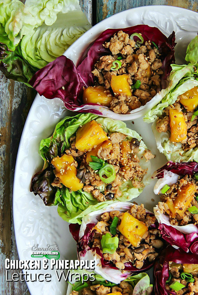 Asian Style Chicken and Pineapple Lettuce Wraps #recipe