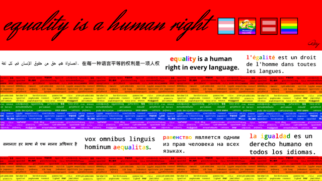 Google plus cover page that says 'Equality is a human right' (in Arabic, Chinese, English, French, Hindu, Latin, Russian, and Spanish) over the rainbow flag colors. 1240x700