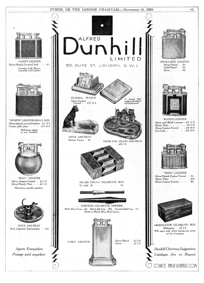 Table lighters collectors' guide: Advert: Dunhill Ball