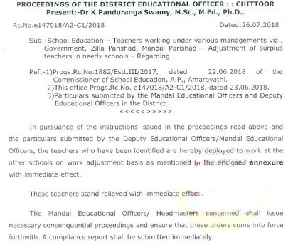 Chittoor District Work Adjustment Teachers List SGT, SA and LP
