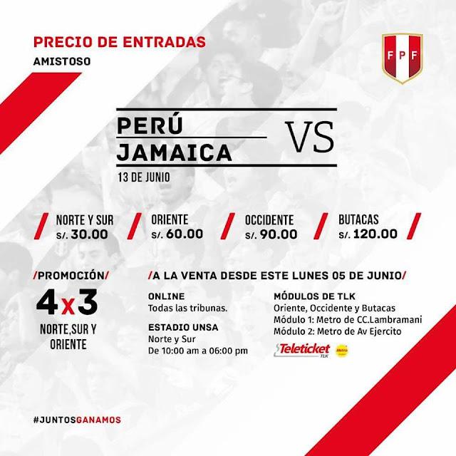 Precio de entradas Perú vs Jamaica