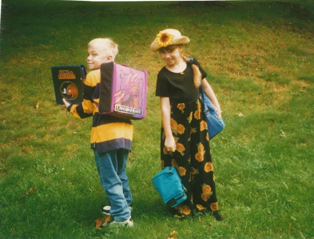 sweet 90's kids on the first day of school with a sonic trapper keeper and a sunflower romper