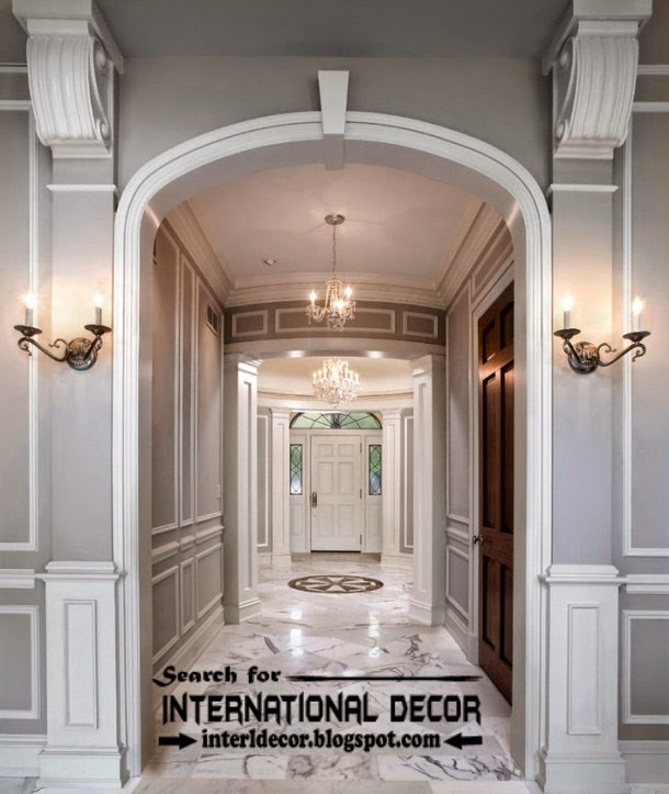 Decorative wall molding or wall moulding designs ideas and panels, gypsum arches