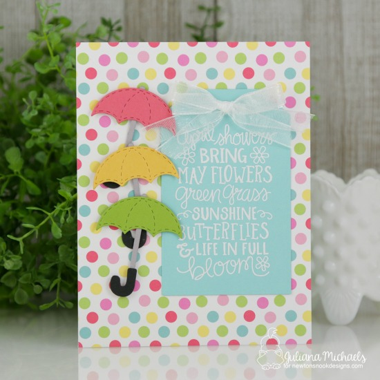 Spring Card by Juliana Michaels | April Showers Stamp Set and Umbrella Pals Die Set by Newton's Nook Designs #newtonsnook #handmade