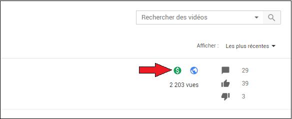 Monétisation des vidéos YouTube