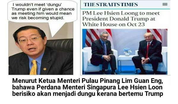 [Video] Perdana Menteri Singapura Berisiko Menjadi Dungu Kerana Berjumpa Donald Trump Menurut Lim Guan Eng