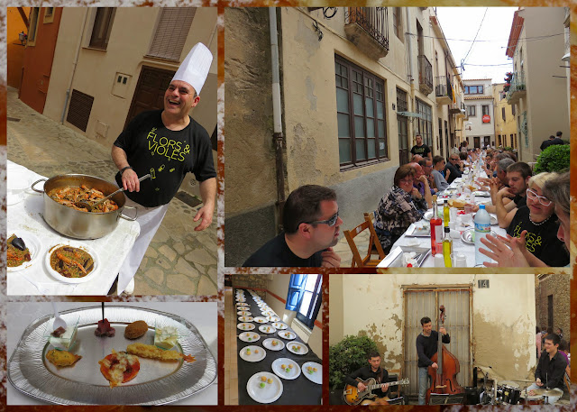 Lunch al fresco at the Flors i Violes festival in Palafrugell in Costa Brava Spain