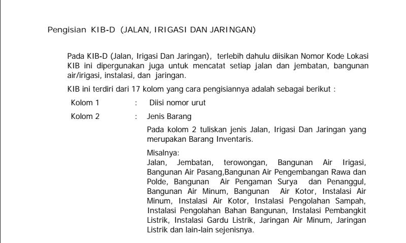 Panduan Cara Pengisian Kartu Investaris Barang (Kib) D Jalan, IrigasiDan Jaringan Inventaris Sekolah