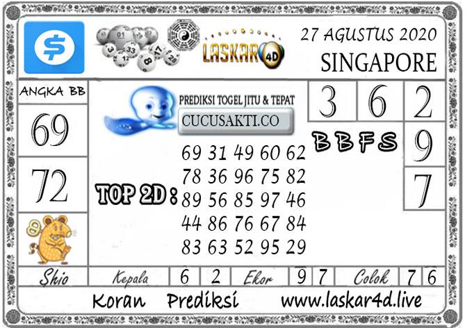 Prediksi Togel SINGAPORE LASKAR4D 27 AGUSTUS 2020
