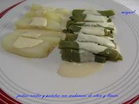 Judías verdes con patatas y mahonesa de atún y limón
