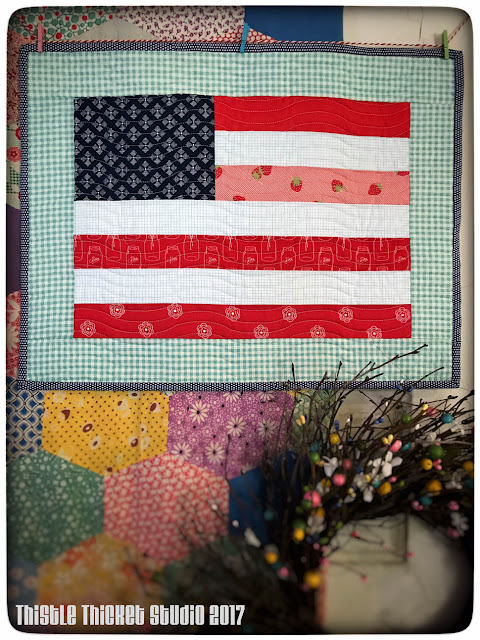 Flag Mini Quilt Made By Thistle Thicket Studio. www.thistlethicketstudio.com