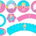 Fiesta en la Piscina para Niña Rubia: Toppers y Wrappers para Cupcakes para Imprimir Gratis.
