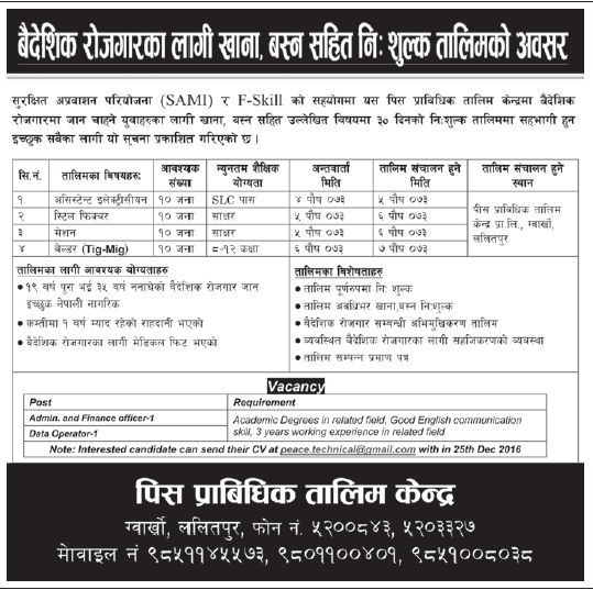 Free Training in Nepal for Foreign Employment