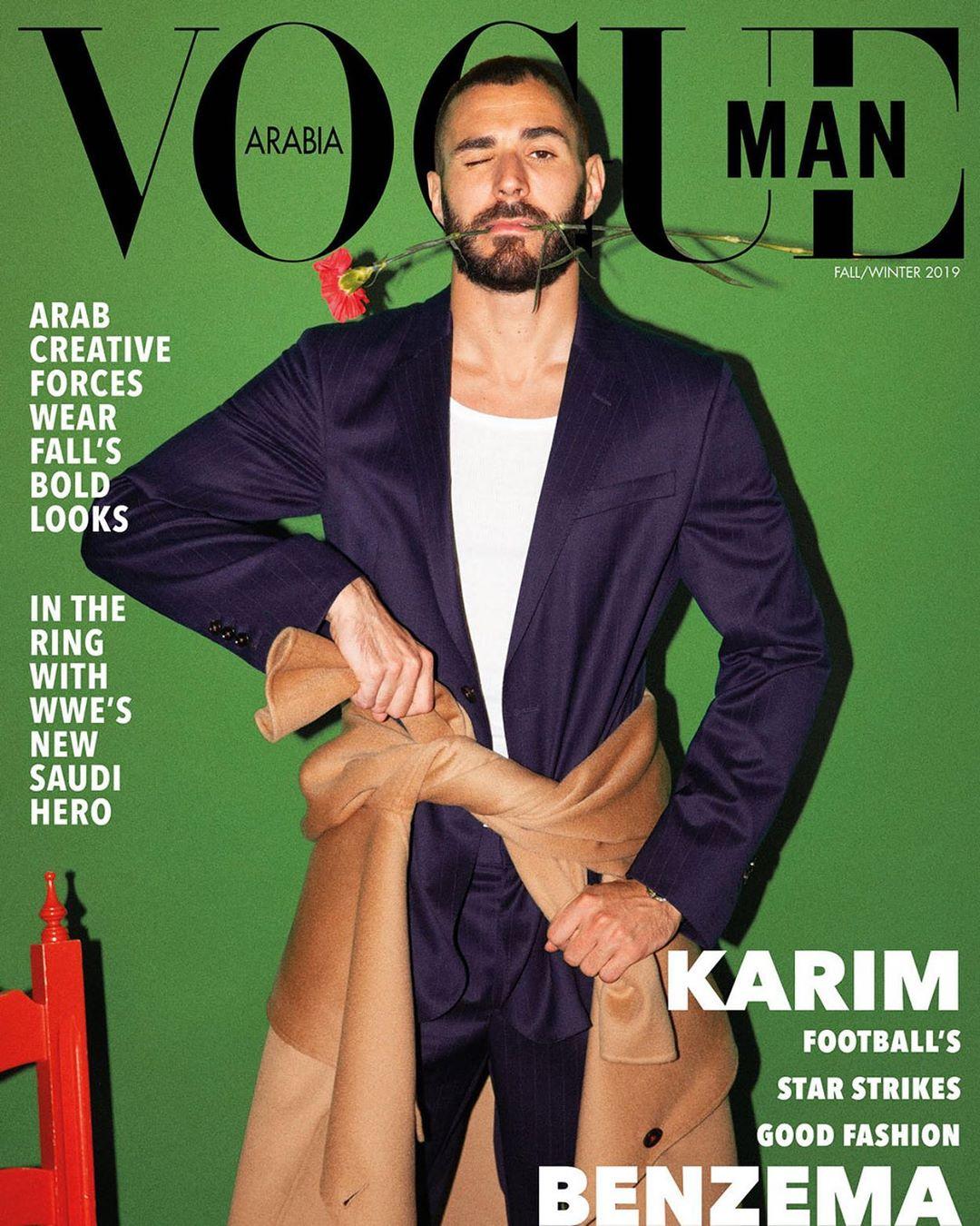 Karim Benzema para Vogue Man Arabia en foto de Gorka Postigo