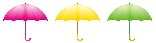 カラフルな傘のイラスト。