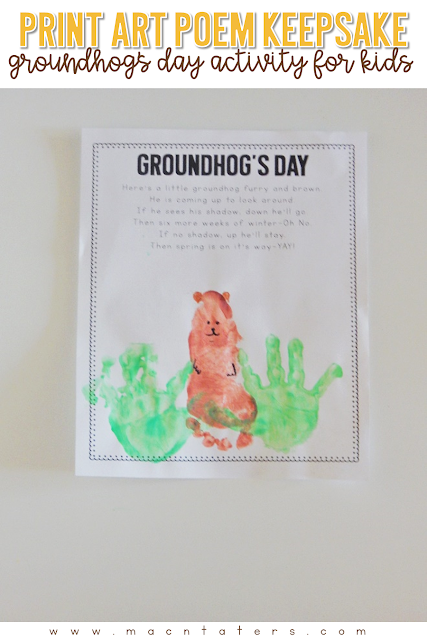 Handpritn and Footprint crafts are so fun and make a great keepsake for you to look back on in years to come. This adorable Groundhog's Day Poem & Print craft was the perfect activity to add to our Groundhog's Day and Shadows Tot School Curriculum.