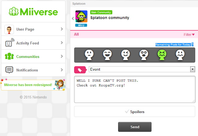 Miiverse redesign posting limit restriction remaining posts for today