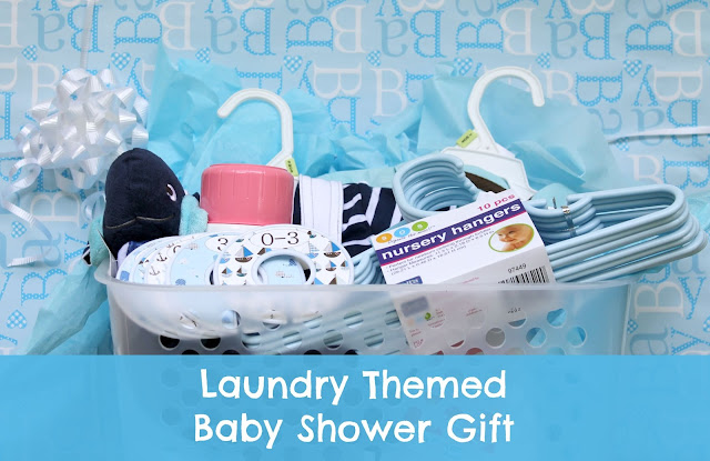 Laundry basket baby shower gift idea for boys