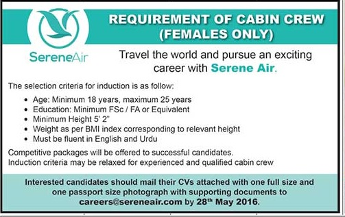 Female Cabin Crew Jobs in Serene Air Jobs in Pakistan