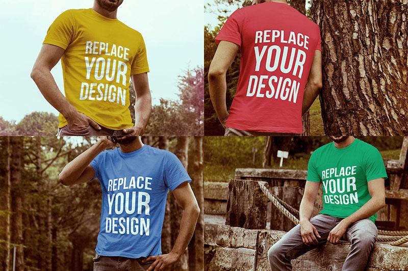 4 Free T-shirt PSD Mockup Templates