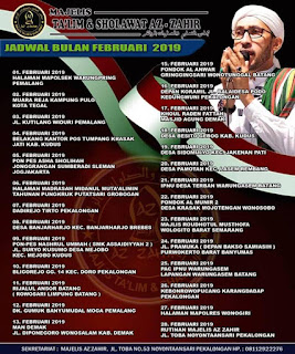 Jadwal Az Zahir Bulan Februari 2019
