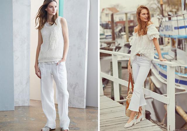 Белые брюки и блузка в тотальном белом образе